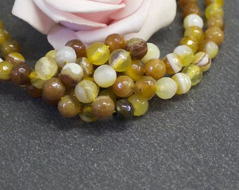 striped Agate faceted 6 mm caramel color PG87 10 beads
