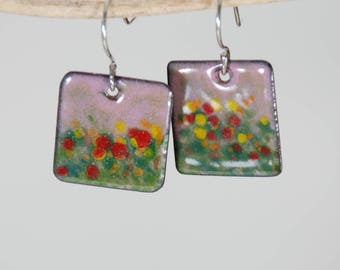 Abstract Field of Flowers Hand Painted Torch-Fired Enamel Earrings