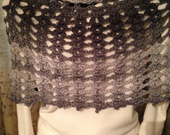 Gorgeous Black and Gray Cowl Neck Poncho