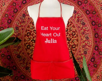 60's Eat Your Heart Out Julia Vintage Full Apron Funny Humorous Julia Child Red Apron Mastering the Art of French Cooking Julie Julia