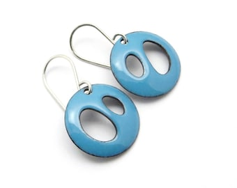 Aqua Blue Enamel Earrings - Modern Jewelry for Everyday Wear - Gift for her