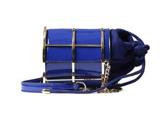 Vegan patent leather mini bucket messenger bag