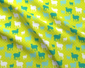 Polka Dot Lambs Fabric - Modern Whimsy Lambs Citron Blue By Lauriewisbrun - Polka Dot Lambs Farm Cotton Fabric By The Yard With Spoonflower