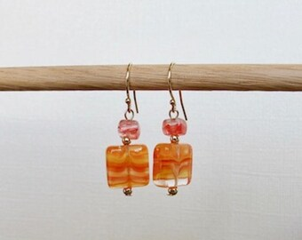Summer Stones - Solid 14k yellow gold ear wire with Czech glass and gold beads
