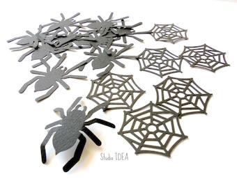 Set of 50 Black Large Spider & spider Web, Tarantula Cut outs, Confetti - Set of 50 pcs