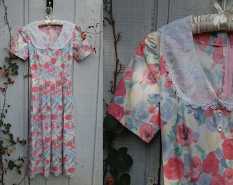 1990s pastel rose floral Miss Honey dress with lace peterpan collar and tie back