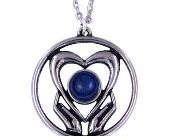 Lapis Holding onto love Pendant Necklace- Hand Made in UK