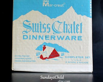 Mid Century Mar-Crest Dinnerware - Vintage Swiss Chalet Completer Set In Factory Sealed Box