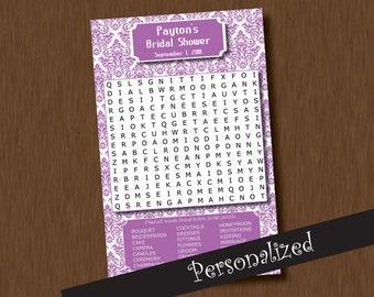 DIY Editable Name -  Bride WORD FIND Search Game Printable Personalized Bridal Shower Diy Purple Damask Wedding