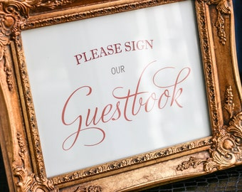 """Wedding Guestbook Sign, Custom Signage, Guest Book Sign, Cards and Gifts Table, Orange Event - """"Enchanting Vintage Flourish"""" Guestbook Sign"""