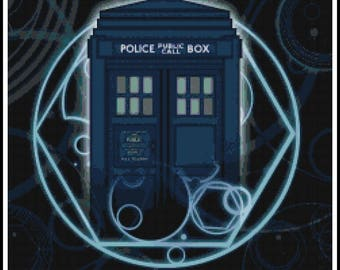 Dr Who Cross Stitch Pattern - Police Box - Dr Who - PDF Download