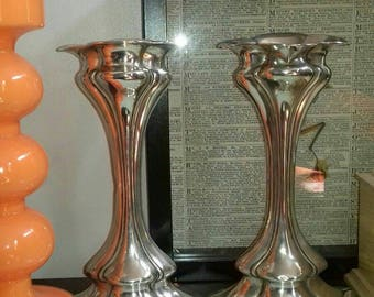 Stunning pair of antique art nouveau solid silver vases