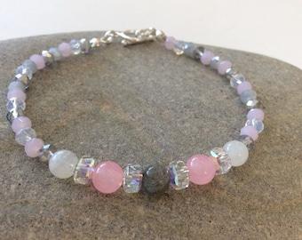 Rose Quarz, Rainbow Moonstone, Labradorite, Swarovski Crystal Gemstone Bead Bracelet