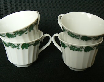 Lot Set of 4 Wunsiedel Bavaria Germany White Floral Grapes Coffee Cups Used Condition