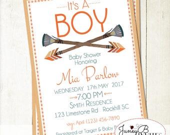 Tribal Baby Boy Shower Invitation, Boho Boy Shower Invite, Rustic Arrows Baby Shower Invite