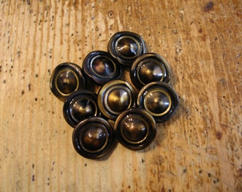 Vintage, Green celluloid Buttons, Set of 9