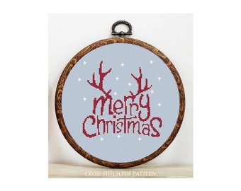 Merry Christmas-Cross Stitch Pattern-Modern Sampler-Pdf-Instant Download
