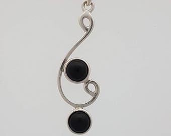 Sterling silver black onyx pendant, sterling silver chain