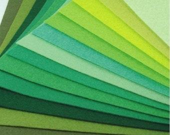Felt Fabric - 13 Greens - 20cm x 20cm per sheet