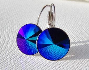 Jet glacier blue rhinestone earrings / leverback earrings / Surgical steel  Hypoallergenic / cobalt crystal / Swarovski / gift for her