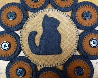 Kitty Penny Folk Art Penny Rugs by Just Pennies by Linda - Pattern