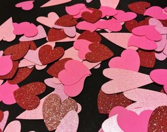 """Hearts Confetti - 200 Heart Die Cuts - 1"""" Heart Confetti - Red and Pink Confetti - Confetti"""