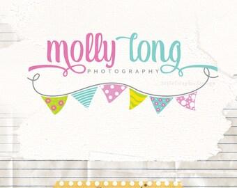 Logo Design Photography, cute bunting logo, Premade Logo Design,  sew logo, logo branding, boutique logos, sewing business logo, party logo