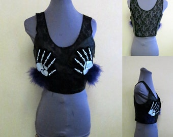Sexy Halloween Skeleton Hand Black leather Halter top, Lace back womens sz M Halloween Costume, Feel the Fear,  Rave Top, leather & Lace