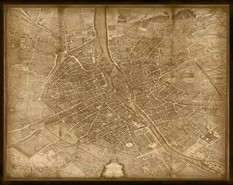 Turgot's 1739 Plan De Paris Map 68x53