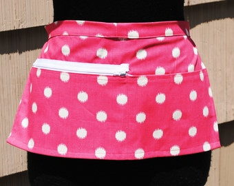 Vendor Apron Server Apron Cash Apron Travel Apron Hot Pink Polka Dot Cotton Twill