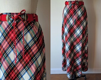 60's plaid maxi skirt / high waist red tartan skirt with red fringed belt size small