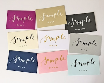 SAMPLES - three place card samples in the colors of your choice!