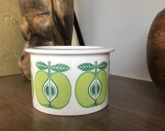 Arabia Finland Greeen Apple Pomona Jam Jar / Mid Century Finnish Kitchenware Sugar or Jelly Jar