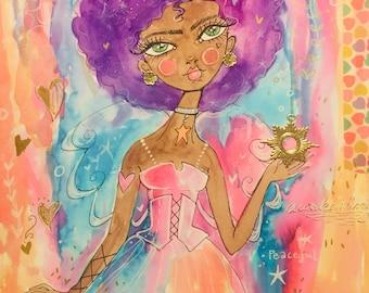 Angel watercolor mixed media