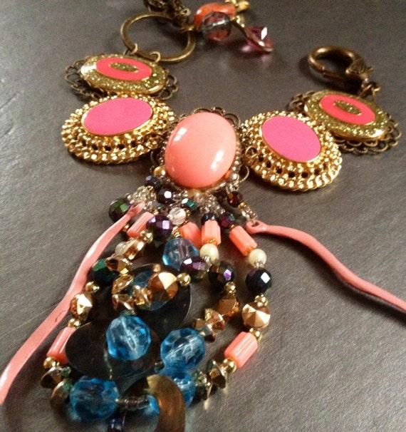 Cluster Bracelet, Cameo Earring Bracelet,  wedding bridesmaid gift, pink hold blue vintage assemblage OOAK repurposed upcycled charms enamel