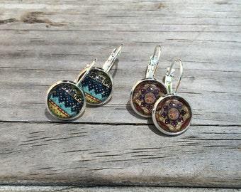 Tribal Earrings, Mandala Earrings, Leverback Earrings, Set of 2 earrings, cabochon earrings