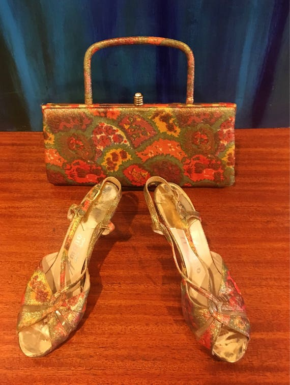 Vintage Leon of California Fabric Gold Metallic Shoe and Purse Set Rhinestone Clasp 7.5N