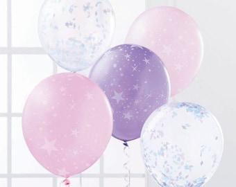 Confetti Balloons DIY Kit Star Balloons Set of 5 Balloons Balloon Bouquet Purple Balloon Pink Balloon Birthday Baby Shower Decorations