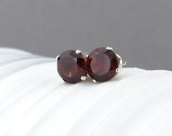 Garnet Stud Earrings Small Silver Earrings Garnet Earrings Gemstone Post Earrings Red Earrings January Birthstone Everyday Jewelry