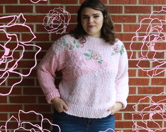 Pretty In Pink: Roses and Pearls Vintage Sweater