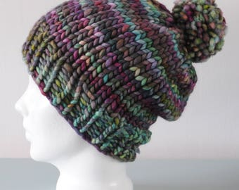 Super Chunky Beanie Hat - Green Purple Knitted Merino Wool Pom Pom Hat Unisex Winter Accessory Gift for Him or Her by Emma Dickie Design