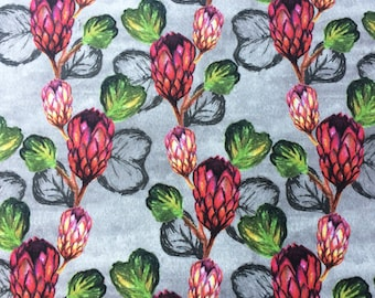 Tropical Fabric Luxury Velvet, hot pink grey floral textile print design, ideal for unique curtains, cushions, fashion, statement home decor
