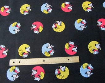 Black Circle  Mickey Mouse Toss Cotton Fabric by the Yard