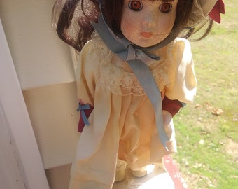 """Vintage Kingstate the dollcrafter girl Porcelain doll with stand. 10"""""""