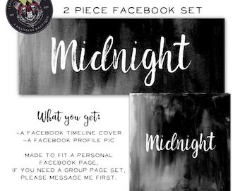 Facebook Set, Facebook Timeline Cover, Facebook Logo, Facebook Template, Black Facebook Set, Modern Facebook Cover
