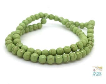 70 beads 6mm lime green Howlite (ph221)