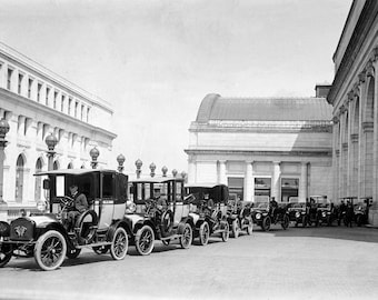 """1914 Federal Taxicabs, Union Station, D.C. Vintage Photograph 13"""" x 19"""""""