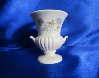 Vintage Wedgwood Bone China White Urn Decorated with a Light Blue Rose, Gilded