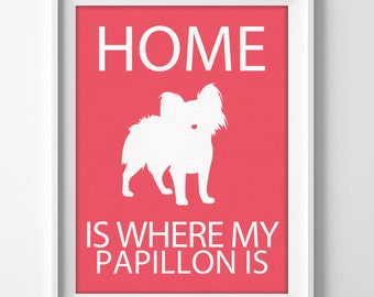 Papillon custom name personalized dog lover wall art print for housewarming gift