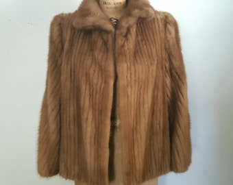 Brown Mink Fur Stole Jacket / bridal wedding coat / Small